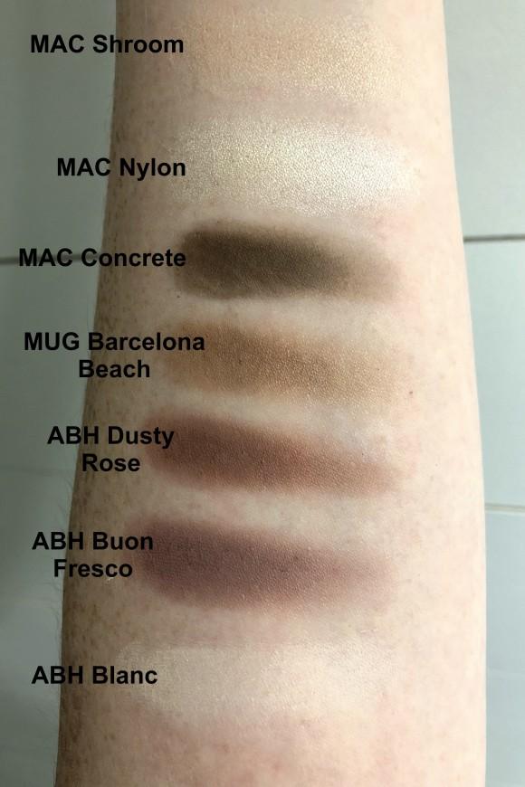 ABH Blanc, ABH Buon Fresco, ABH Dusty Rose, MUG Barcelona Beach, MAC Concrete, MAC Nylon, MAC Shroom