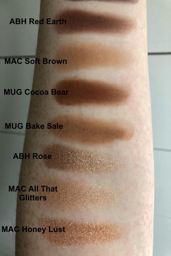 MAC Honey Lust, MAC All That Glitters, ABH Rose, MUG Bake Sale, MUG Cocoa Bear, MAC Soft Brown, ABH Red Earth
